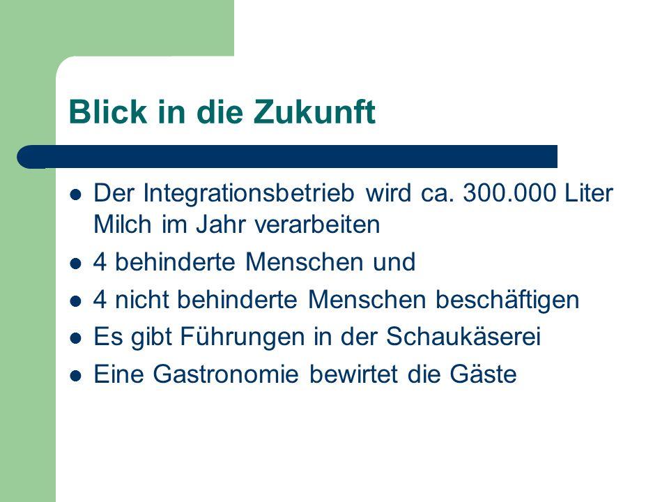 Blick in die Zukunft Der Integrationsbetrieb wird ca.