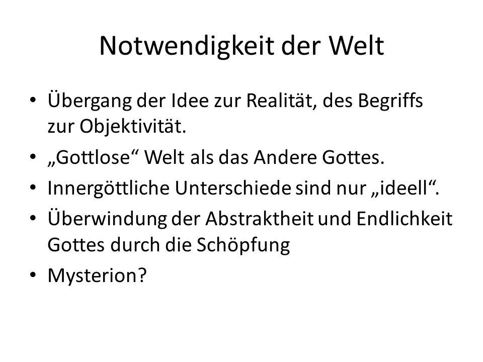 Notwendigkeit der Welt Übergang der Idee zur Realität, des Begriffs zur Objektivität.