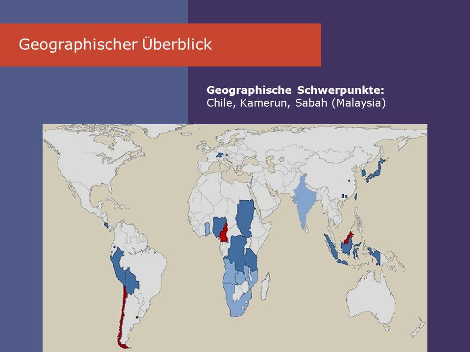 Geographischer Ü berblick Geographische Schwerpunkte: Chile, Kamerun, Sabah (Malaysia)