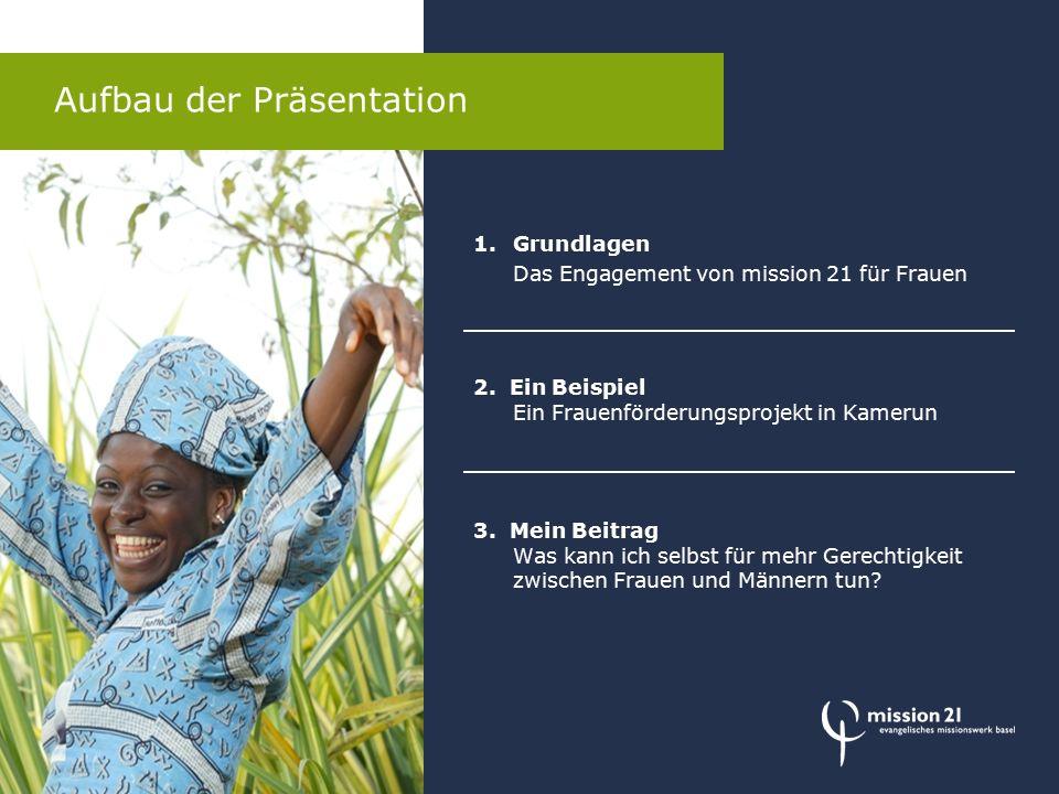 Aufbau der Präsentation 1.Grundlagen Das Engagement von mission 21 für Frauen 2.