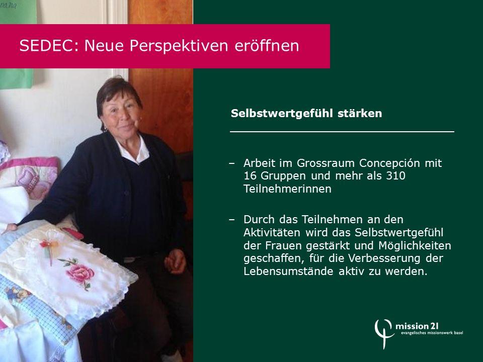 SEDEC: Neue Perspektiven eröffnen –Arbeit im Grossraum Concepción mit 16 Gruppen und mehr als 310 Teilnehmerinnen –Durch das Teilnehmen an den Aktivitäten wird das Selbstwertgefühl der Frauen gestärkt und Möglichkeiten geschaffen, für die Verbesserung der Lebensumstände aktiv zu werden.