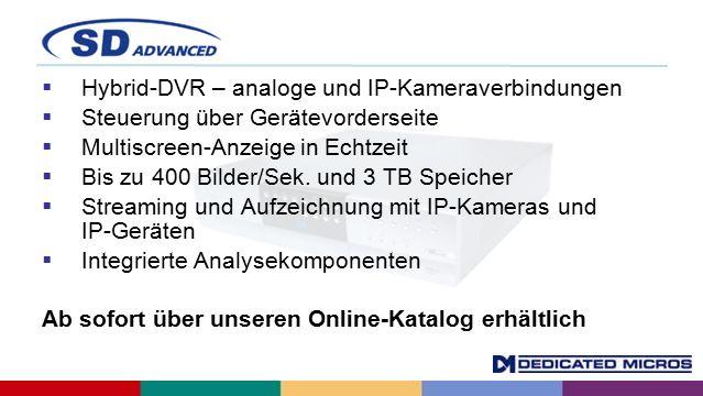  Hybrid-DVR – analoge und IP-Kameraverbindungen  Steuerung über Gerätevorderseite  Multiscreen-Anzeige in Echtzeit  Bis zu 400 Bilder/Sek.