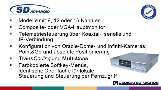  Modelle mit 8, 12 oder 16 Kanälen  Composite- oder VGA-Hauptmonitor  Telemetriesteuerung über Koaxial-, serielle und IP-Verbindung  Konfiguration von Oracle-Dome- und Infiniti-Kameras; Point&Go und absolute Positionierung  TransCoding und MultiMode  Farbkodierte Softkey-Menüs, identische Oberfläche für lokale Steuerung und Steuerung per Fernzugriff