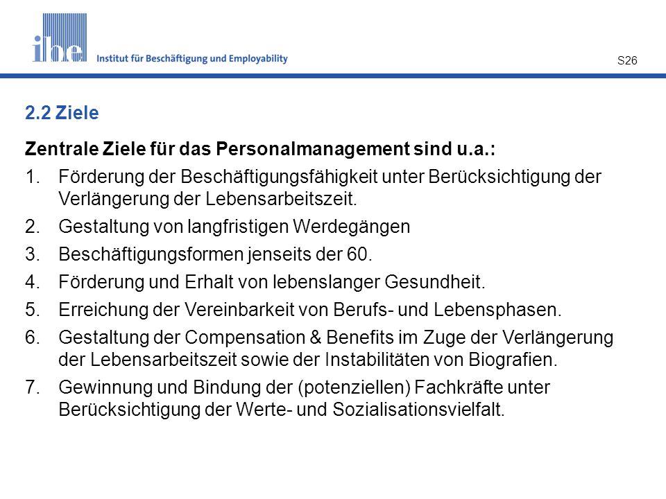 S26 Zentrale Ziele für das Personalmanagement sind u.a.: 1.Förderung der Beschäftigungsfähigkeit unter Berücksichtigung der Verlängerung der Lebensarbeitszeit.