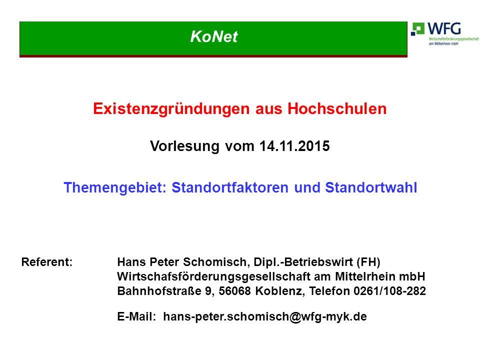 1.Vorstellung der Wirtschaftsförderungsgesellschaft am Mittelrhein mbH (WFG) 2.Bedeutung der unternehmerischen Standortwahl 3.Übersicht heutiger Standortfaktoren 3.1.Harte und weiche Standortfaktoren 3.2.Persönliche weiche Standortfaktoren 3.3.Welche Faktoren bestimmen die Auswahl des Standortes.