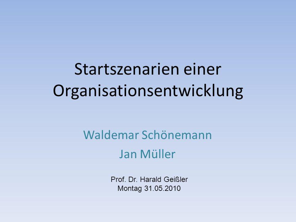 Startszenarien einer Organisationsentwicklung Waldemar Schönemann Jan Müller Prof.