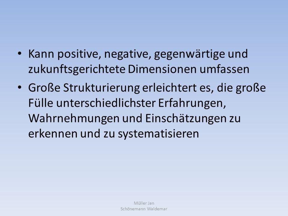 Kann positive, negative, gegenwärtige und zukunftsgerichtete Dimensionen umfassen Große Strukturierung erleichtert es, die große Fülle unterschiedlichster Erfahrungen, Wahrnehmungen und Einschätzungen zu erkennen und zu systematisieren Müller Jan Schönemann Waldemar
