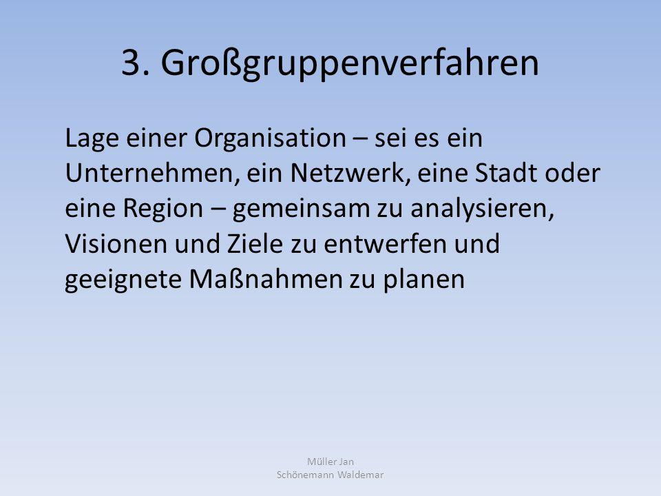 3. Großgruppenverfahren Lage einer Organisation – sei es ein Unternehmen, ein Netzwerk, eine Stadt oder eine Region – gemeinsam zu analysieren, Vision