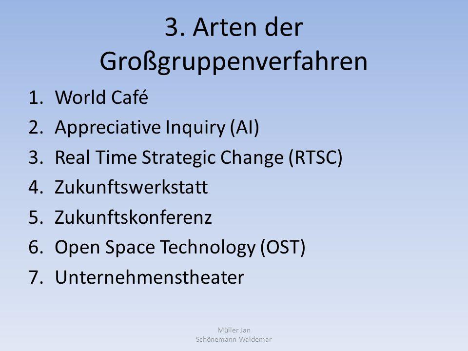 3. Arten der Großgruppenverfahren 1.World Café 2.Appreciative Inquiry (AI) 3.Real Time Strategic Change (RTSC) 4.Zukunftswerkstatt 5.Zukunftskonferenz
