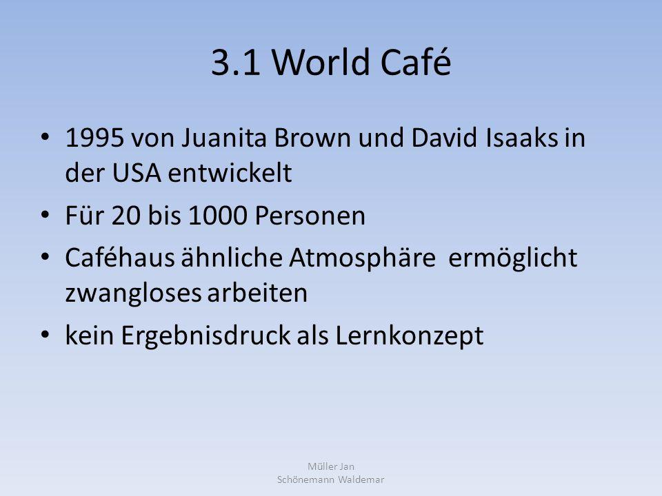 3.1 World Café 1995 von Juanita Brown und David Isaaks in der USA entwickelt Für 20 bis 1000 Personen Caféhaus ähnliche Atmosphäre ermöglicht zwangloses arbeiten kein Ergebnisdruck als Lernkonzept Müller Jan Schönemann Waldemar