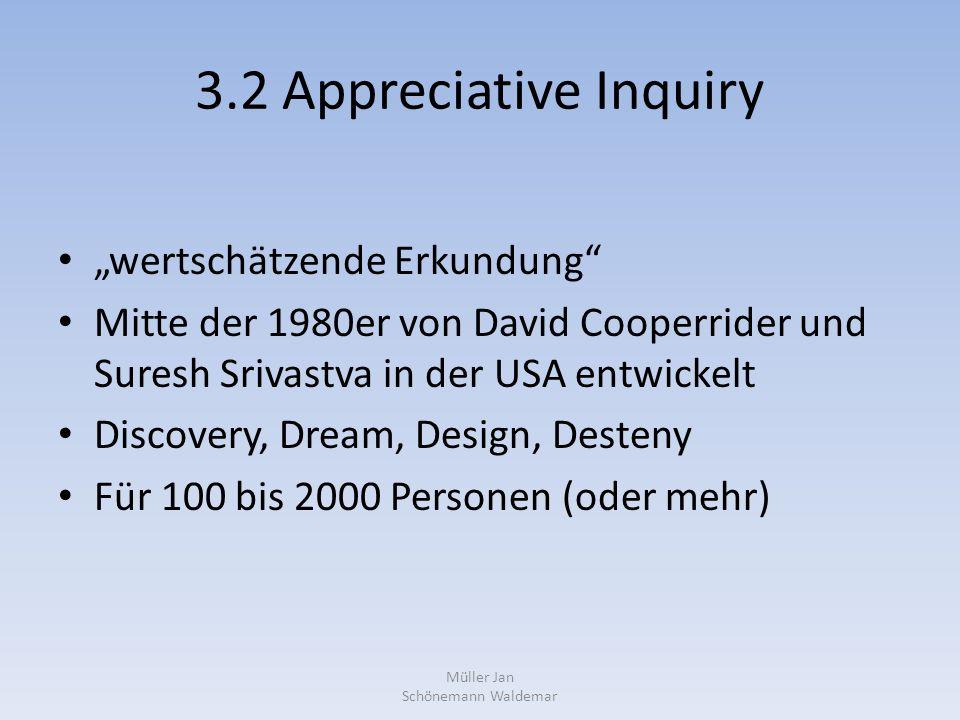 """3.2 Appreciative Inquiry """"wertschätzende Erkundung Mitte der 1980er von David Cooperrider und Suresh Srivastva in der USA entwickelt Discovery, Dream, Design, Desteny Für 100 bis 2000 Personen (oder mehr) Müller Jan Schönemann Waldemar"""