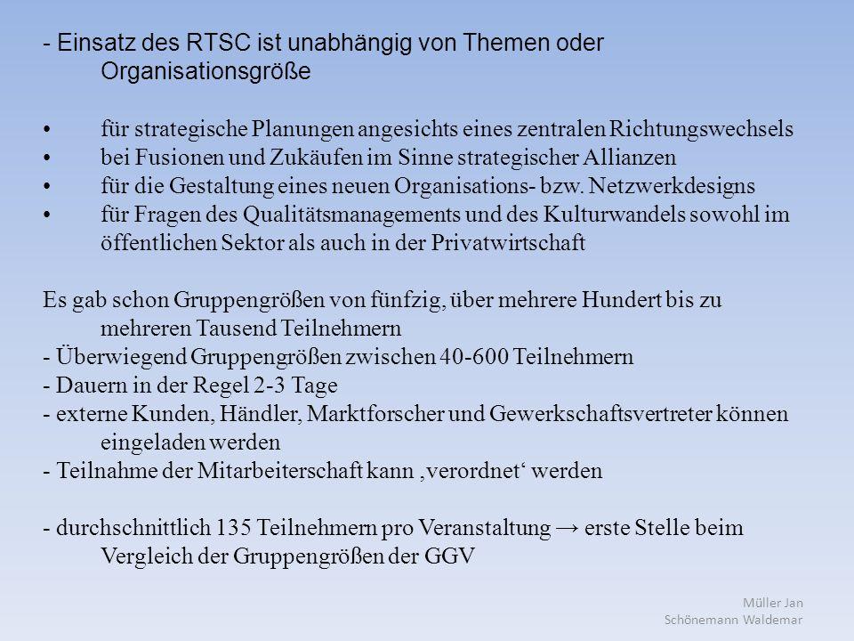 Müller Jan Schönemann Waldemar - Einsatz des RTSC ist unabhängig von Themen oder Organisationsgröße für strategische Planungen angesichts eines zentralen Richtungswechsels bei Fusionen und Zukäufen im Sinne strategischer Allianzen für die Gestaltung eines neuen Organisations- bzw.