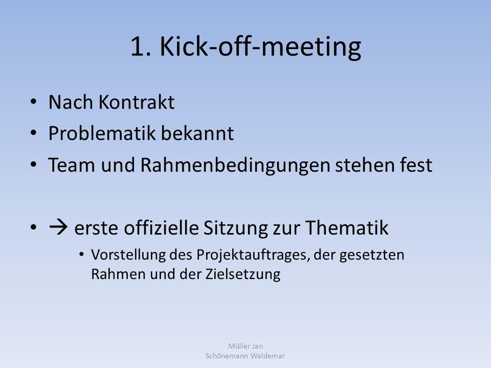 1. Kick-off-meeting Nach Kontrakt Problematik bekannt Team und Rahmenbedingungen stehen fest  erste offizielle Sitzung zur Thematik Vorstellung des P