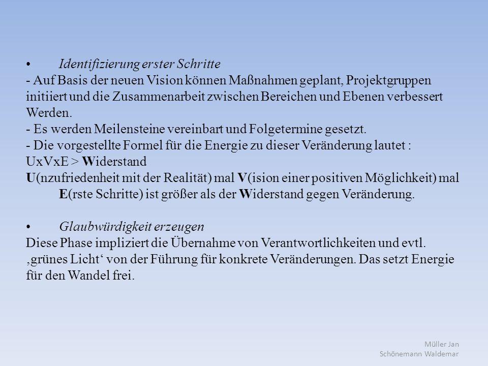 Müller Jan Schönemann Waldemar Identifizierung erster Schritte - Auf Basis der neuen Vision können Maßnahmen geplant, Projektgruppen initiiert und die Zusammenarbeit zwischen Bereichen und Ebenen verbessert Werden.