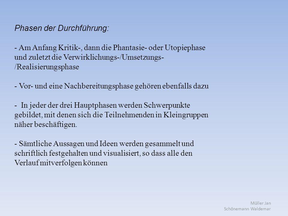 Müller Jan Schönemann Waldemar Phasen der Durchführung: - Am Anfang Kritik-, dann die Phantasie- oder Utopiephase und zuletzt die Verwirklichungs-/Umsetzungs- /Realisierungsphase - Vor- und eine Nachbereitungsphase gehören ebenfalls dazu - In jeder der drei Hauptphasen werden Schwerpunkte gebildet, mit denen sich die Teilnehmenden in Kleingruppen näher beschäftigen.