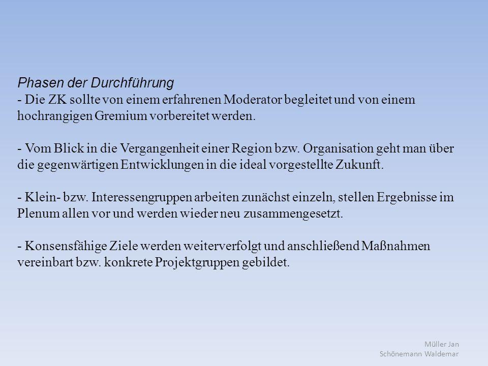 Müller Jan Schönemann Waldemar Phasen der Durchführung - Die ZK sollte von einem erfahrenen Moderator begleitet und von einem hochrangigen Gremium vorbereitet werden.