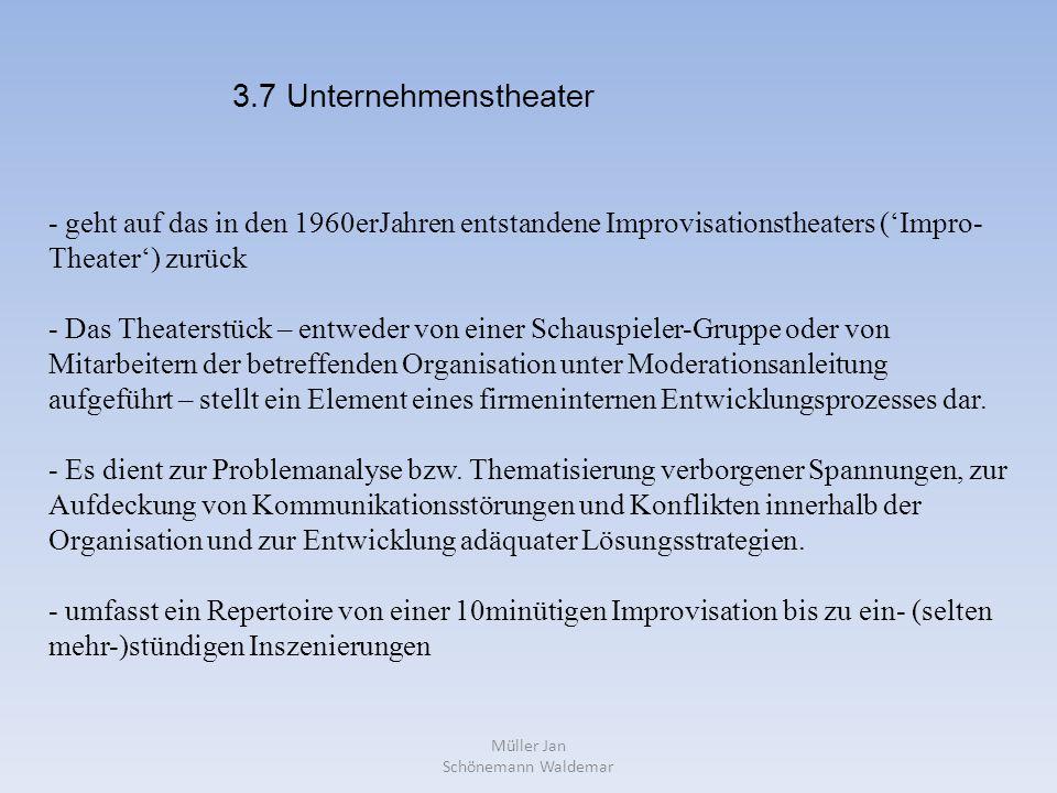 Müller Jan Schönemann Waldemar - geht auf das in den 1960erJahren entstandene Improvisationstheaters ('Impro- Theater') zurück - Das Theaterstück – entweder von einer Schauspieler-Gruppe oder von Mitarbeitern der betreffenden Organisation unter Moderationsanleitung aufgeführt – stellt ein Element eines firmeninternen Entwicklungsprozesses dar.