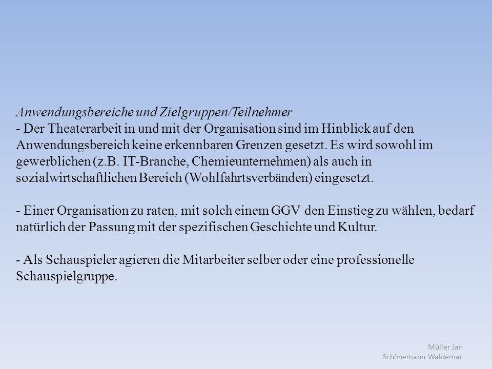 Müller Jan Schönemann Waldemar Anwendungsbereiche und Zielgruppen/Teilnehmer - Der Theaterarbeit in und mit der Organisation sind im Hinblick auf den Anwendungsbereich keine erkennbaren Grenzen gesetzt.
