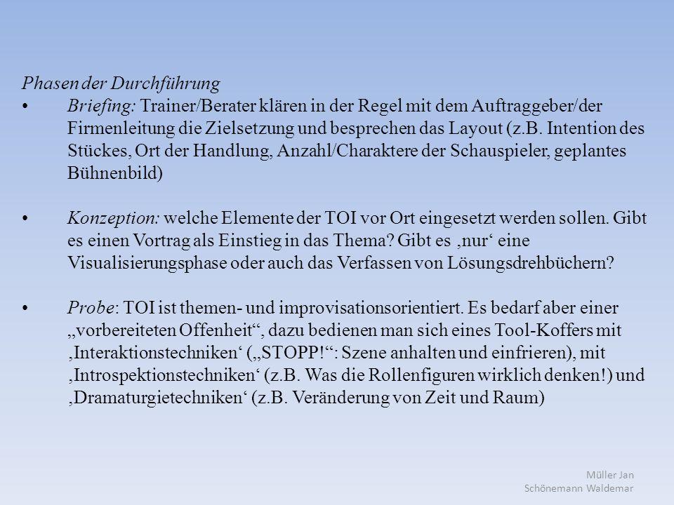 Müller Jan Schönemann Waldemar Phasen der Durchführung Briefing: Trainer/Berater klären in der Regel mit dem Auftraggeber/der Firmenleitung die Zielsetzung und besprechen das Layout (z.B.