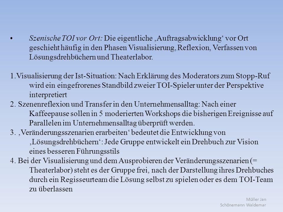 Müller Jan Schönemann Waldemar Szenische TOI vor Ort: Die eigentliche 'Auftragsabwicklung' vor Ort geschieht häufig in den Phasen Visualisierung, Reflexion, Verfassen von Lösungsdrehbüchern und Theaterlabor.