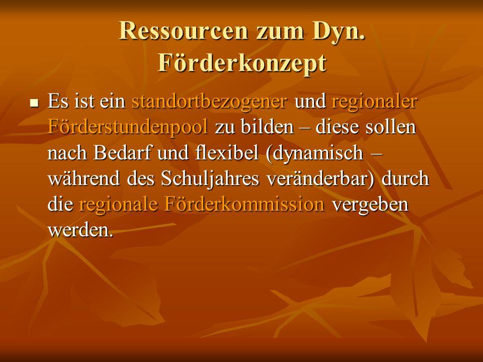 Ressourcen zum Dyn. Förderkonzept Es ist ein standortbezogener und regionaler Förderstundenpool zu bilden – diese sollen nach Bedarf und flexibel (dyn