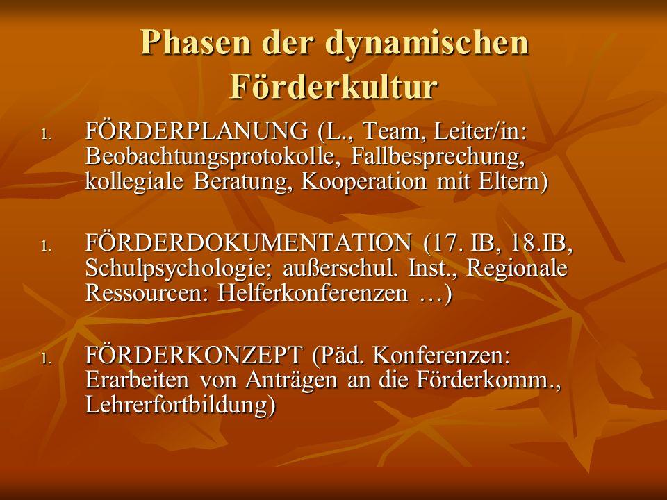 Phasen der dynamischen Förderkultur 1. FÖRDERPLANUNG (L., Team, Leiter/in: Beobachtungsprotokolle, Fallbesprechung, kollegiale Beratung, Kooperation m