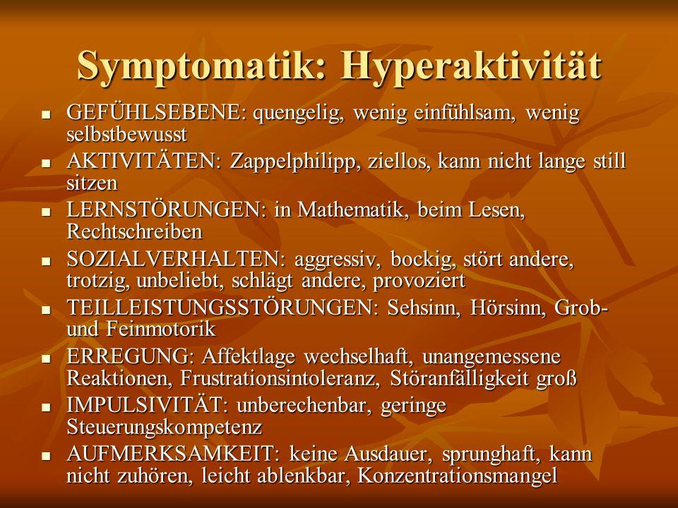 Symptomatik: Hyperaktivität GEFÜHLSEBENE: quengelig, wenig einfühlsam, wenig selbstbewusst GEFÜHLSEBENE: quengelig, wenig einfühlsam, wenig selbstbewu