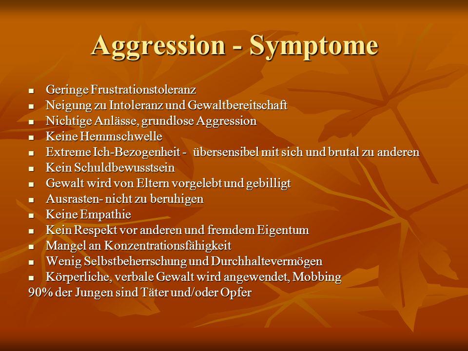 Aggression - Symptome Geringe Frustrationstoleranz Geringe Frustrationstoleranz Neigung zu Intoleranz und Gewaltbereitschaft Neigung zu Intoleranz und