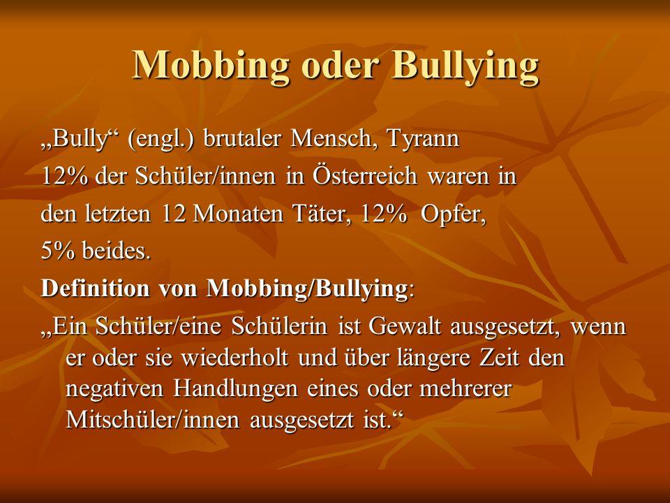 "Mobbing oder Bullying ""Bully"" (engl.) brutaler Mensch, Tyrann 12% der Schüler/innen in Österreich waren in den letzten 12 Monaten Täter, 12% Opfer, 5%"