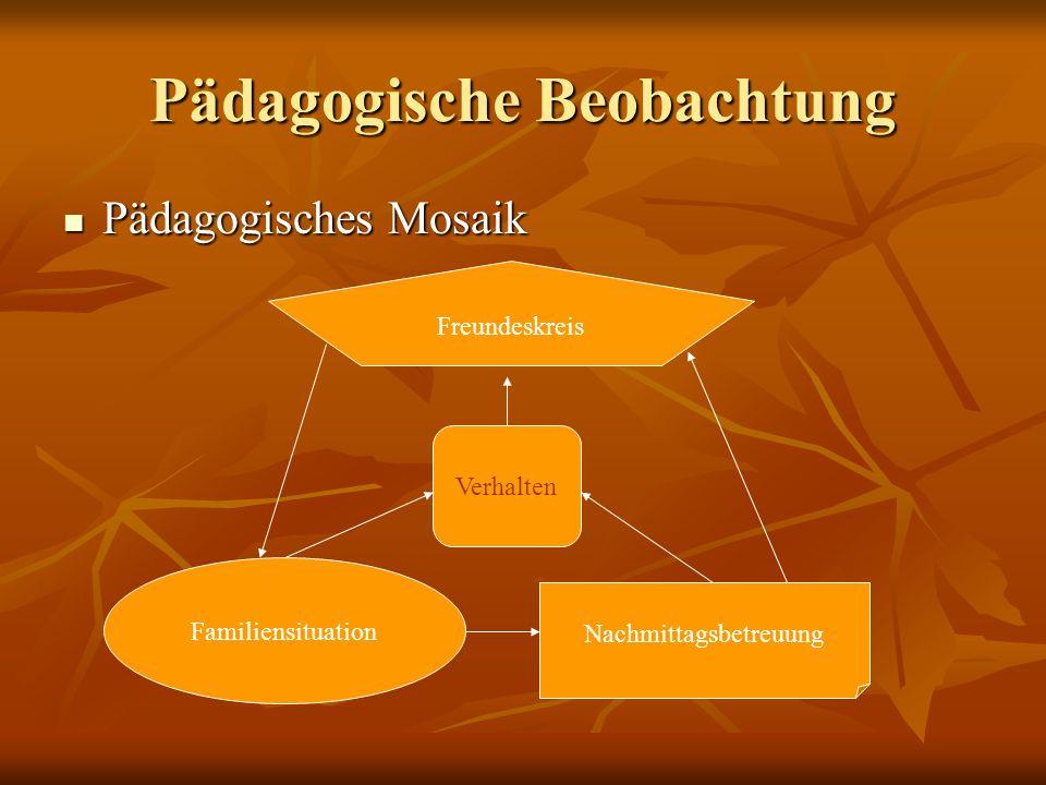 Pädagogische Beobachtung Pädagogisches Mosaik Pädagogisches Mosaik Verhalten Familiensituation Nachmittagsbetreuung Freundeskreis