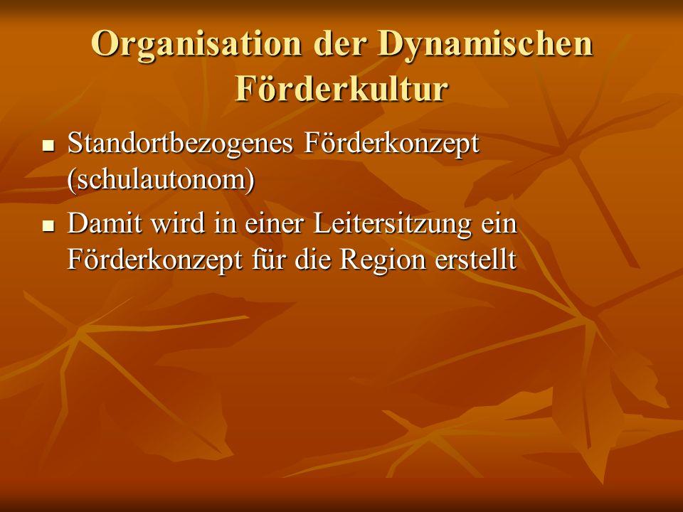 Organisation der Dynamischen Förderkultur Standortbezogenes Förderkonzept (schulautonom) Standortbezogenes Förderkonzept (schulautonom) Damit wird in