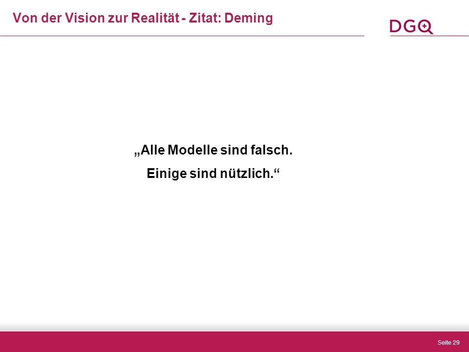 """Seite 29 Von der Vision zur Realität - Zitat: Deming """"Alle Modelle sind falsch."""