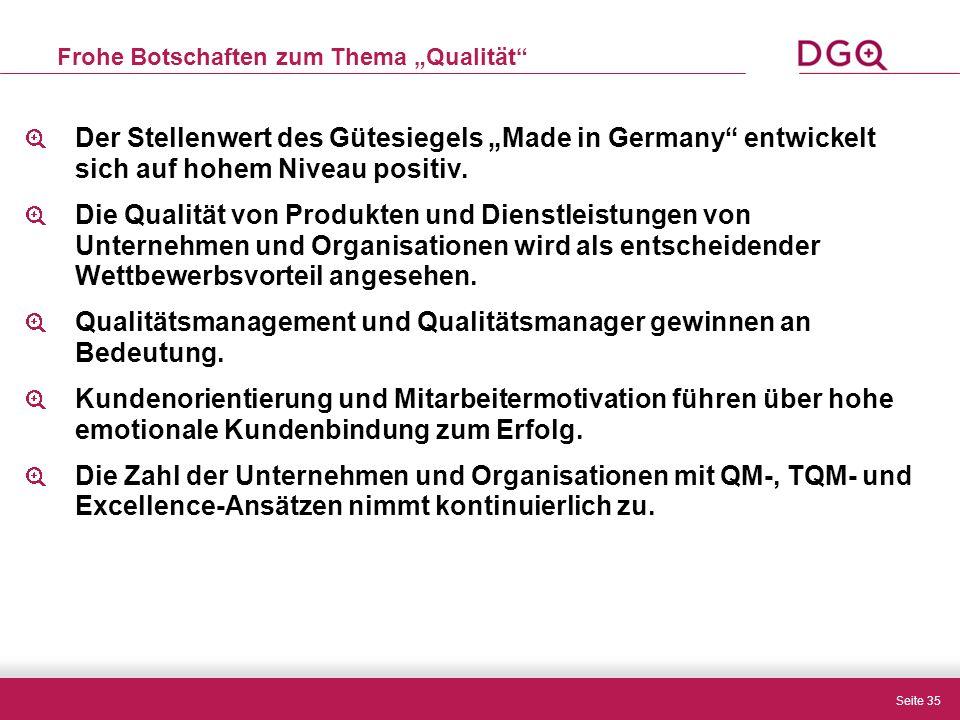 """Seite 35 Frohe Botschaften zum Thema """"Qualität Der Stellenwert des Gütesiegels """"Made in Germany entwickelt sich auf hohem Niveau positiv."""