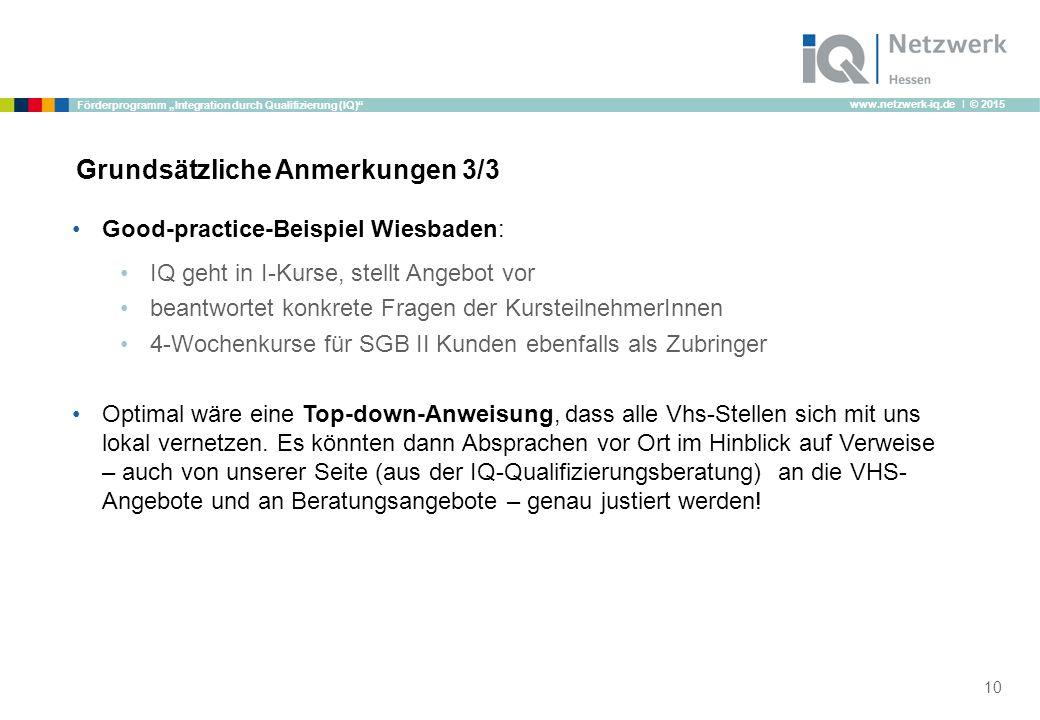 """www.netzwerk-iq.de I © 2015 Förderprogramm """"Integration durch Qualifizierung (IQ) Grundsätzliche Anmerkungen 3/3 Good-practice-Beispiel Wiesbaden: IQ geht in I-Kurse, stellt Angebot vor beantwortet konkrete Fragen der KursteilnehmerInnen 4-Wochenkurse für SGB II Kunden ebenfalls als Zubringer Optimal wäre eine Top-down-Anweisung, dass alle Vhs-Stellen sich mit uns lokal vernetzen."""