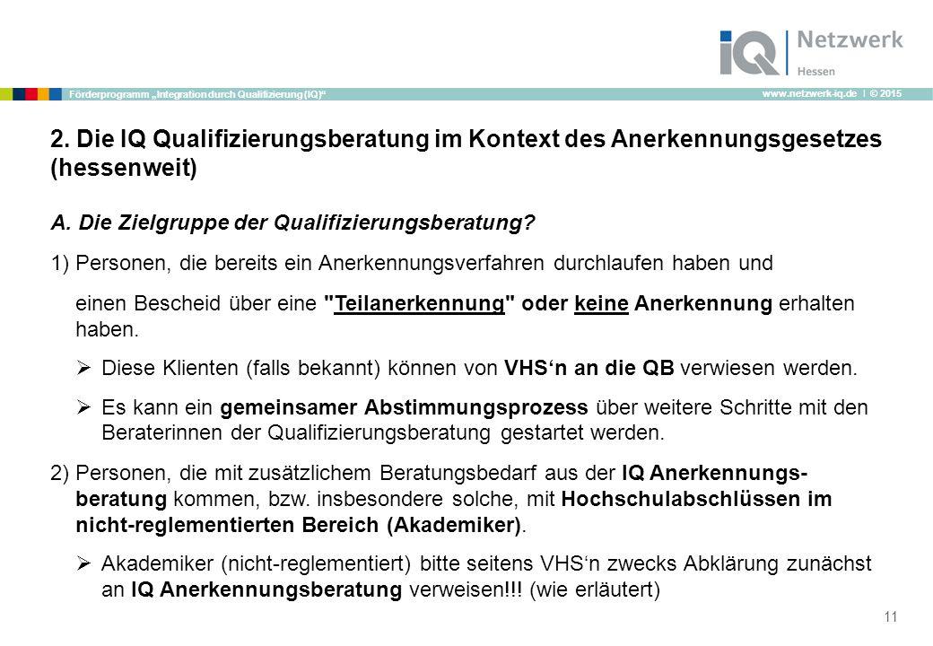"""www.netzwerk-iq.de I © 2015 Förderprogramm """"Integration durch Qualifizierung (IQ)"""" 2. Die IQ Qualifizierungsberatung im Kontext des Anerkennungsgesetz"""