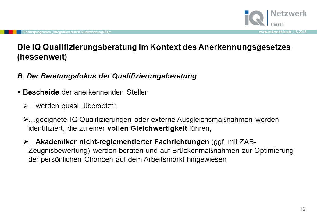 "www.netzwerk-iq.de I © 2015 Förderprogramm ""Integration durch Qualifizierung (IQ)"" B. Der Beratungsfokus der Qualifizierungsberatung  Bescheide der a"