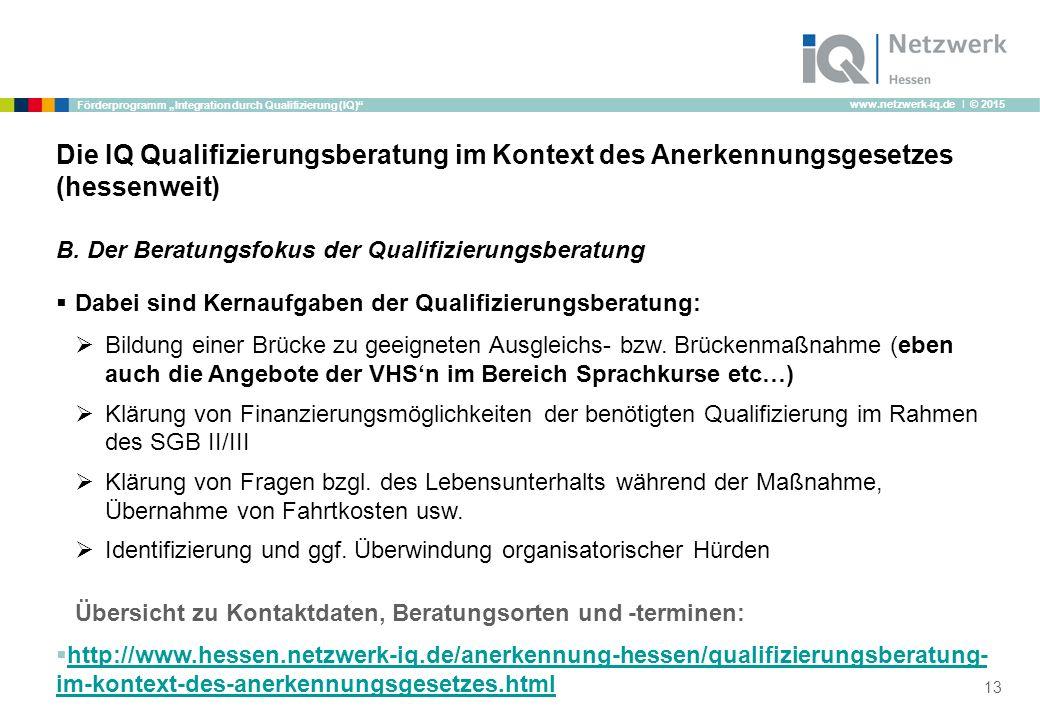 "www.netzwerk-iq.de I © 2015 Förderprogramm ""Integration durch Qualifizierung (IQ)"" B. Der Beratungsfokus der Qualifizierungsberatung  Dabei sind Kern"