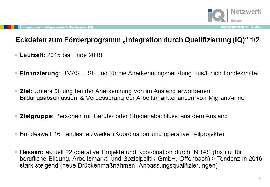 "www.netzwerk-iq.de I © 2015 Förderprogramm ""Integration durch Qualifizierung (IQ) B."