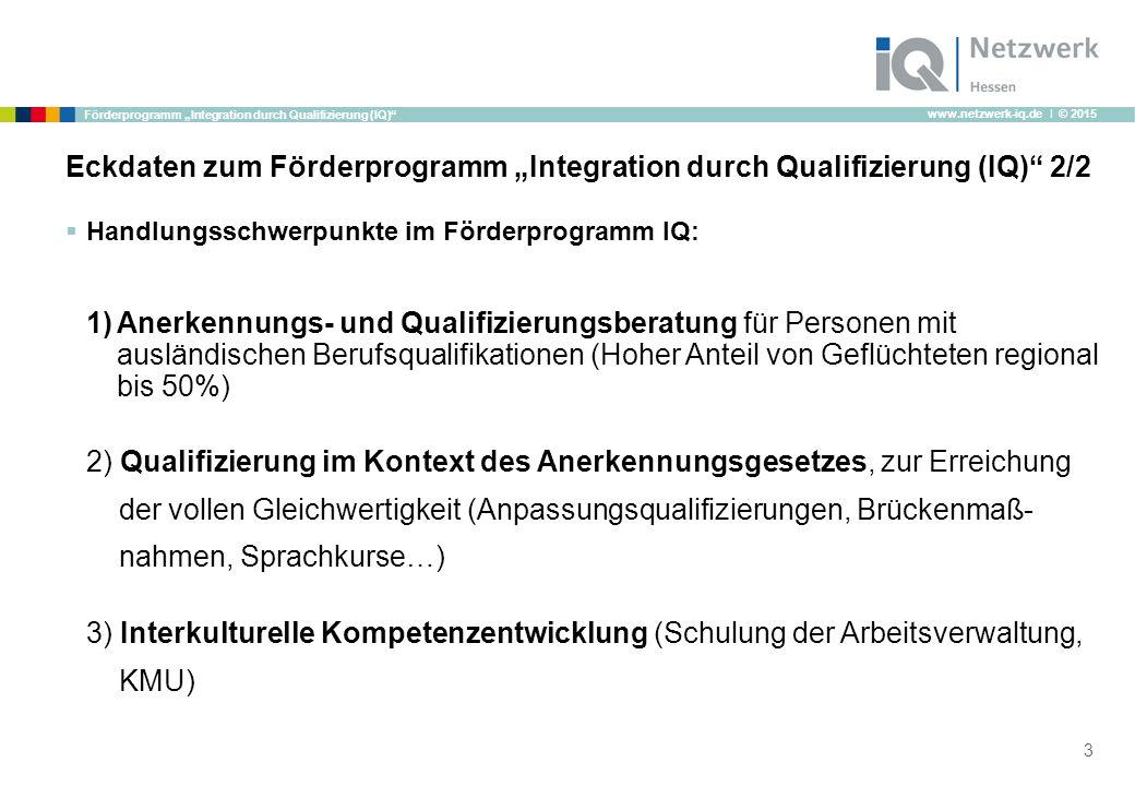 """www.netzwerk-iq.de I © 2015 Förderprogramm """"Integration durch Qualifizierung (IQ) Eckdaten zum Förderprogramm """"Integration durch Qualifizierung (IQ) 2/2  Handlungsschwerpunkte im Förderprogramm IQ: 1)Anerkennungs- und Qualifizierungsberatung für Personen mit ausländischen Berufsqualifikationen (Hoher Anteil von Geflüchteten regional bis 50%) 2) Qualifizierung im Kontext des Anerkennungsgesetzes, zur Erreichung der vollen Gleichwertigkeit (Anpassungsqualifizierungen, Brückenmaß- nahmen, Sprachkurse…) 3) Interkulturelle Kompetenzentwicklung (Schulung der Arbeitsverwaltung, KMU) 3"""