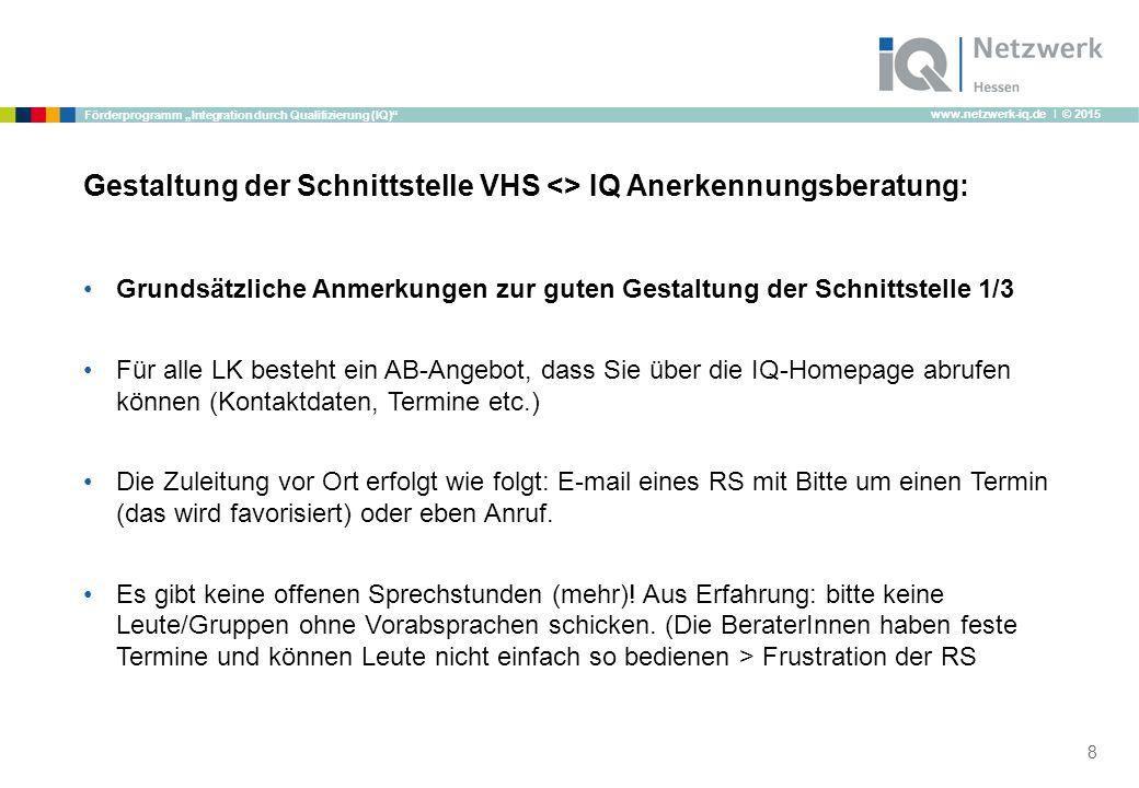 """www.netzwerk-iq.de I © 2015 Förderprogramm """"Integration durch Qualifizierung (IQ)"""" Gestaltung der Schnittstelle VHS <> IQ Anerkennungsberatung: Grunds"""
