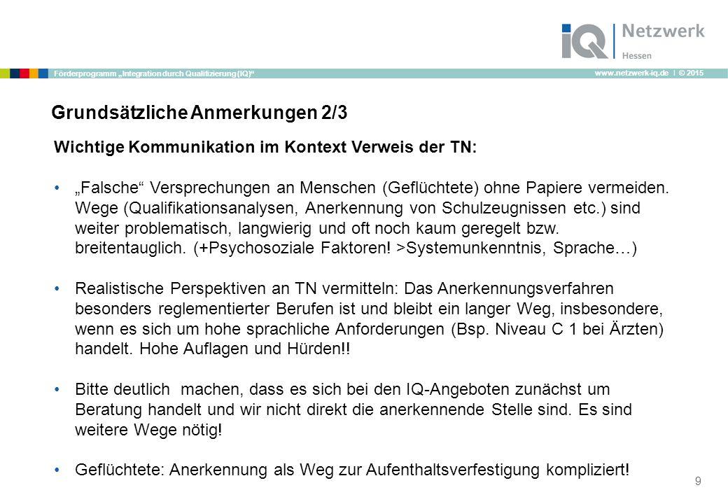 """www.netzwerk-iq.de I © 2015 Förderprogramm """"Integration durch Qualifizierung (IQ) Grundsätzliche Anmerkungen 2/3 Wichtige Kommunikation im Kontext Verweis der TN: """"Falsche Versprechungen an Menschen (Geflüchtete) ohne Papiere vermeiden."""