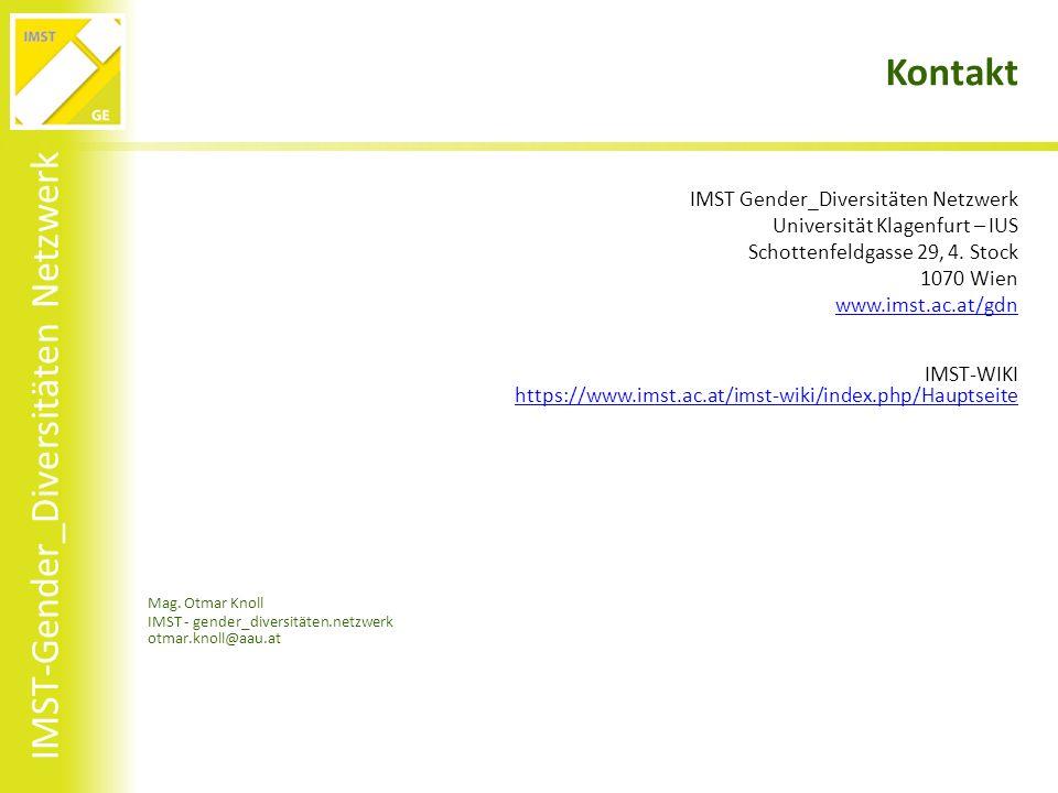 IMST-Gender_Diversitäten Netzwerk Kontakt IMST Gender_Diversitäten Netzwerk Universität Klagenfurt – IUS Schottenfeldgasse 29, 4.