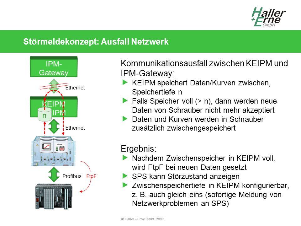 © Haller + Erne GmbH 2008 Störmeldekonzept: Ausfall Netzwerk Profibus n Ethernet FtpF Kommunikationsausfall zwischen KEIPM und IPM-Gateway:  KEIPM speichert Daten/Kurven zwischen, Speichertiefe n  Falls Speicher voll (> n), dann werden neue Daten von Schrauber nicht mehr akzeptiert  Daten und Kurven werden in Schrauber zusätzlich zwischengespeichert Ergebnis:  Nachdem Zwischenspeicher in KEIPM voll, wird FtpF bei neuen Daten gesetzt  SPS kann Störzustand anzeigen  Zwischenspeichertiefe in KEIPM konfigurierbar, z.