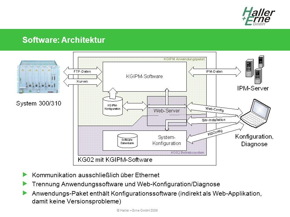 © Haller + Erne GmbH 2008 Inbetriebnahme und Konfiguration: Erstinbetriebnahme Softwareinstallation (optional) IPKG: Software-Verwaltung für KG02 Software hochladen und installieren KGIPM-Software (CD!): he-kgipm_1.0.3_arm.ipk he-ke300dll_1.1_arm.ipk IP-Adresse der KG02