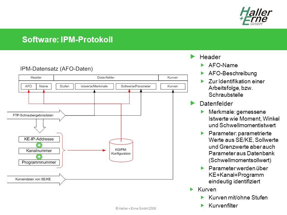 © Haller + Erne GmbH 2008 Software: IPM-Protokoll  Header  AFO-Name  AFO-Beschreibung  Zur Identifikation einer Arbeitsfolge, bzw.