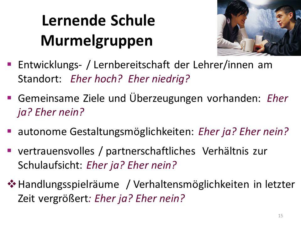 Lernende Schule Lernende Schule Murmelgruppen  Entwicklungs- / Lernbereitschaft der Lehrer/innen am Standort: Eher hoch.