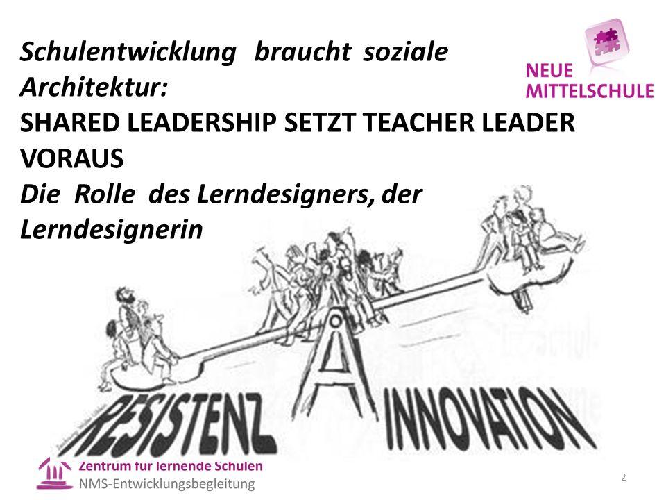 Schulentwicklung braucht soziale Architektur: SHARED LEADERSHIP SETZT TEACHER LEADER VORAUS Die Rolle des Lerndesigners, der Lerndesignerin 2