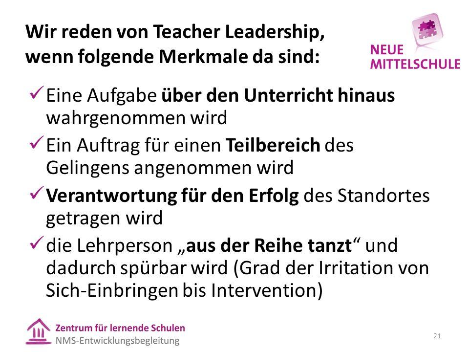 """Wir reden von Teacher Leadership, wenn folgende Merkmale da sind: Eine Aufgabe über den Unterricht hinaus wahrgenommen wird Ein Auftrag für einen Teilbereich des Gelingens angenommen wird Verantwortung für den Erfolg des Standortes getragen wird die Lehrperson """"aus der Reihe tanzt und dadurch spürbar wird (Grad der Irritation von Sich-Einbringen bis Intervention) 21"""