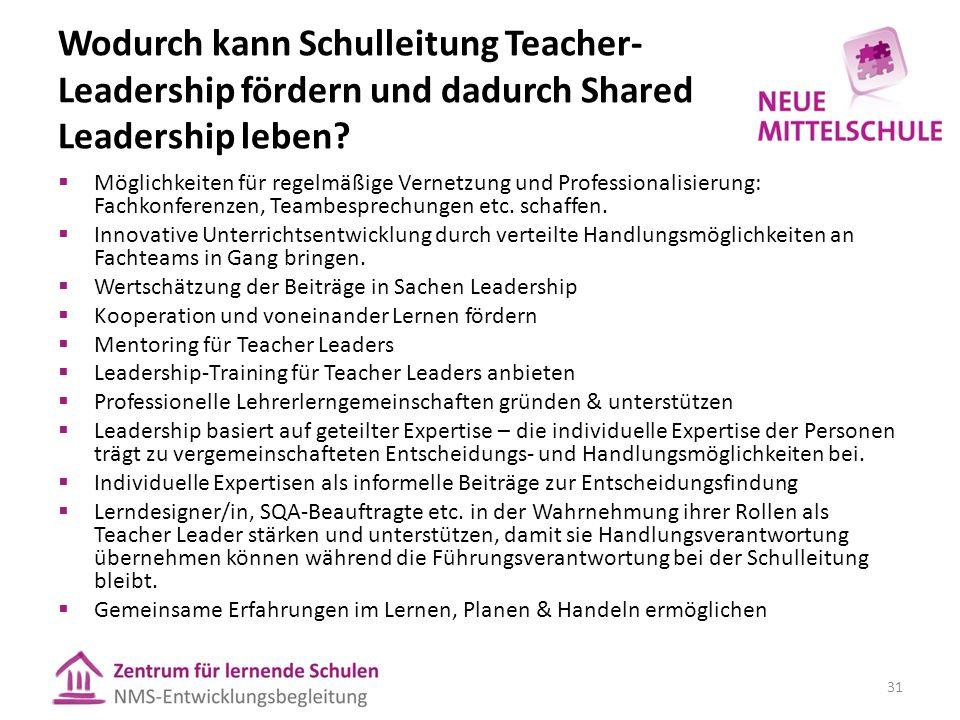 Wodurch kann Schulleitung Teacher- Leadership fördern und dadurch Shared Leadership leben.