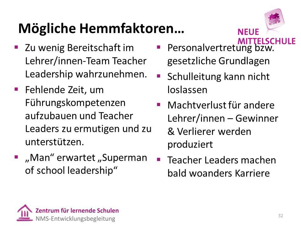 Mögliche Hemmfaktoren…  Zu wenig Bereitschaft im Lehrer/innen-Team Teacher Leadership wahrzunehmen.
